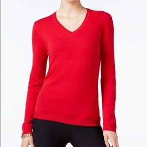 Charter Club Red Cashmere V-Neck Sweater